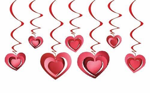 12'lu 3D Tavan Süs Kalp Kırmızı