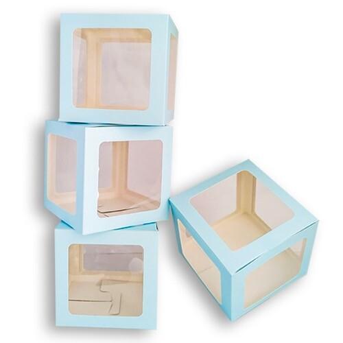- 10'lu Büyük 25 cm Şeffaf Kutu Mavi