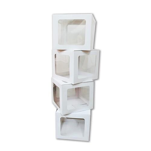 - 10'lu Küçük 17 cm Şeffaf Kutu Beyaz