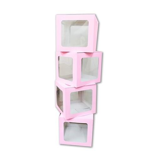 - 10'lu Küçük 17 cm Şeffaf Kutu Pembe