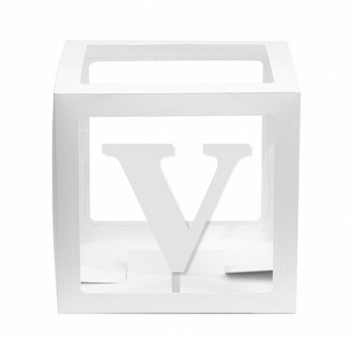 - 10'lu Şeffaf Kutu Harf Beyaz V