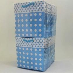 - 11*11 Karton Çanta 50'li Mavi Puantiyelli