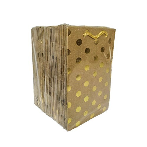 - 12*17 Karton Çanta 25'li Kraft Gold Puantiye