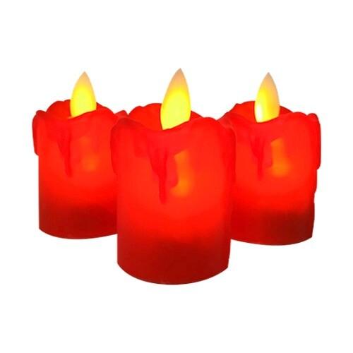 - 12'li Led ışıklı kırmızı 5 cm mum