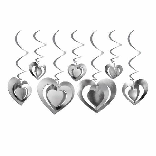 - 12'lu 3D Tavan Süs Kalp Gümüş