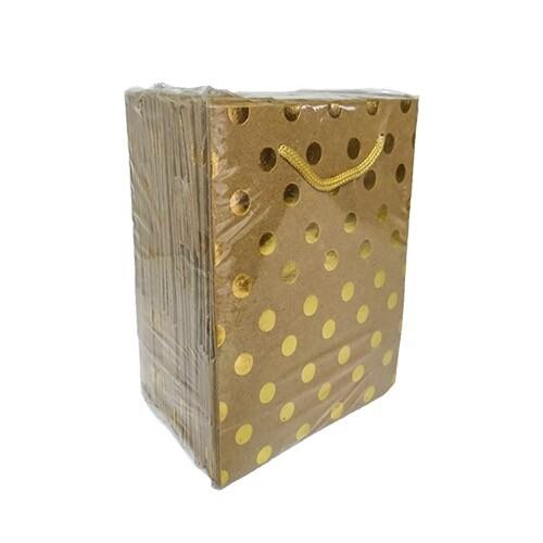 - 14*17 Karton Çanta 25'li Kraft Gold Puantiye