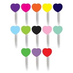 - 20'li Kürdan Düz Renkli Kalp