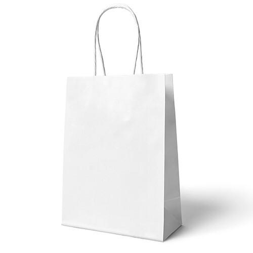 - 22x24 Büküm Saplı Çanta 25'li Beyaz