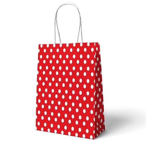 - 22x24 Büküm Saplı Çanta 25'li Kırmızı Puantiyeli