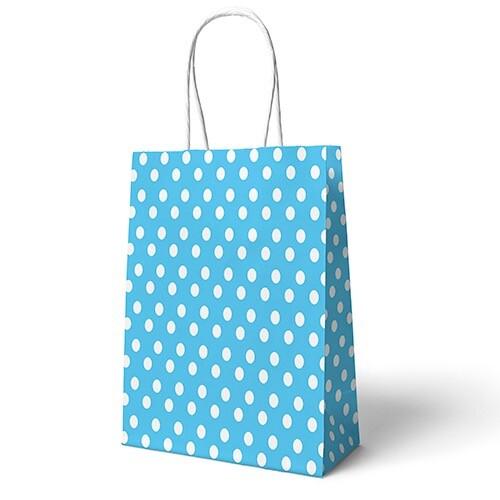 - 22x24 Büküm Saplı Çanta 25'li Mavi Puantiyeli