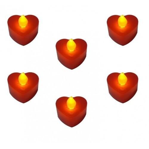 - 24'lü Pilli Kırmızı Kalp Mum