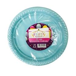 - 25'li Plastik Mavi Tabak