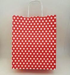- 25X31 Büküm Saplı Çanta 25'li Kırmızı Puantiye