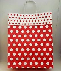 - 32x40 Büküm Saplı Çanta 25'li Kırmızı Puantiye