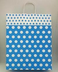 - 32x40 Büküm Saplı Çanta 25'li Mavi Puantiye