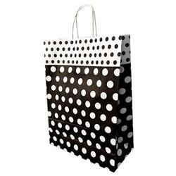- 32x40 Büküm Saplı Çanta 25'li Siyah Puantiyeli