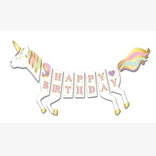 - 3D Happy Birthday Unicorn Banner