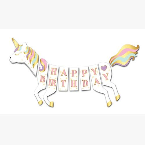 3D Happy Birthday Unicorn Banner