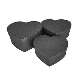 - 3'lü Kalp Düz Siyah Hediye Kutusu