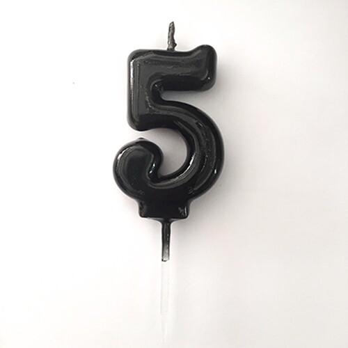 - 5 Yaş Siyah Rakam Mum