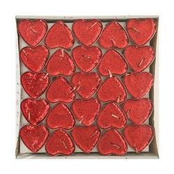 - 50'li Kalp Kırmızı Simli Tealight