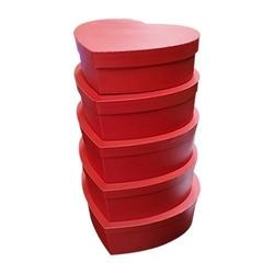- 5'li Kalp Kırmızı Büyük Kutu