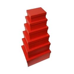 - 6'lı Düz Kırmızı Dikdörtgen Kutu