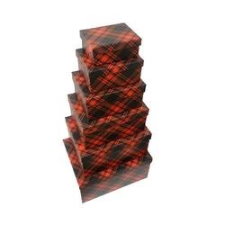 - 6'lı Kırmızı Siyah Desenli Dikdörtgen Kutu
