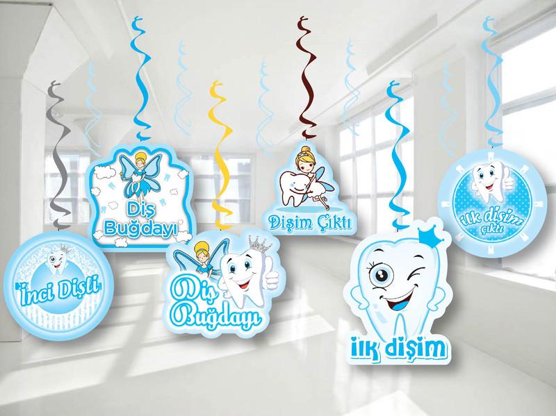 - 6'lı Tavan Süs Mavi Diş