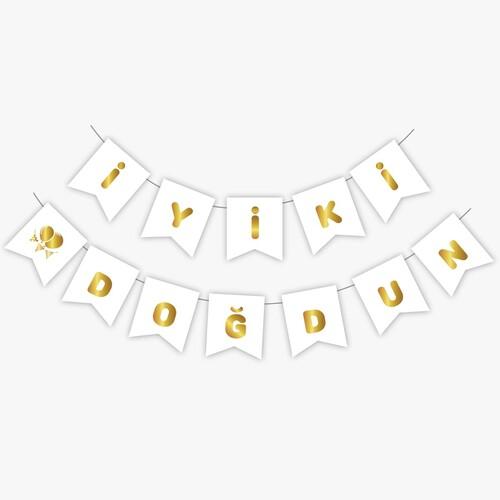 - Beyaz Gold Yaldızlı Banner