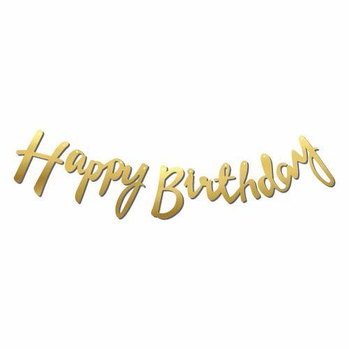 Kaligrafi Banner Gold Happy Birthday