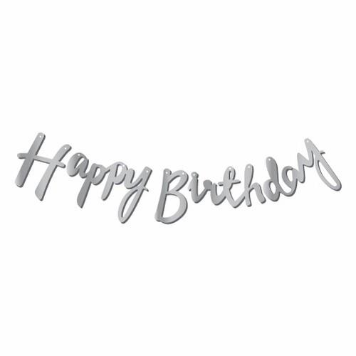 - Kaligrafi Banner Gümüş Happy Birthday