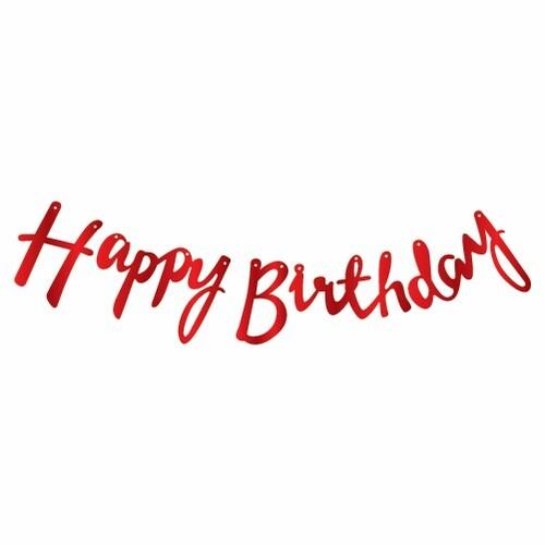 - Kaligrafi Banner Kırmızı Happy Birthday