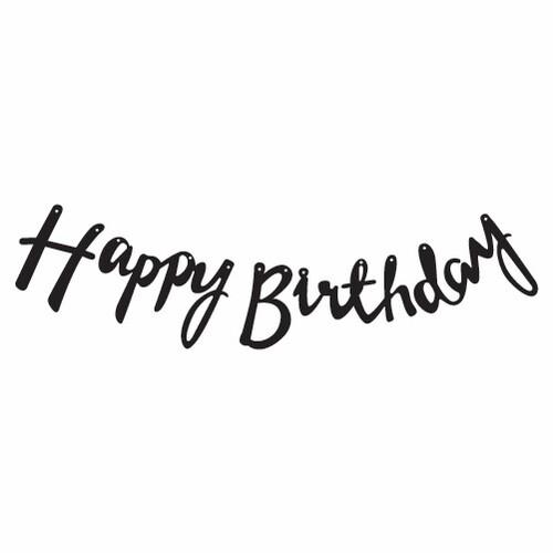 - Kaligrafi Banner Siyah Happy Birthday