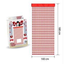 - Kapı Perdesi Kalp Kırmızı 100*180 cm