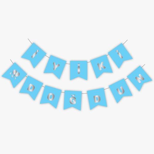 - Mavi Gümüş Yaldızlı Banner