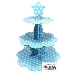 - Mavi Puantiyeli Kek Standı