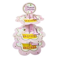 - Pembe 1 Yaş Prenses Kek Standı