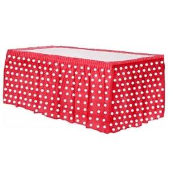 - Plastik Kırmızı Puantiyeli Masa Eteği