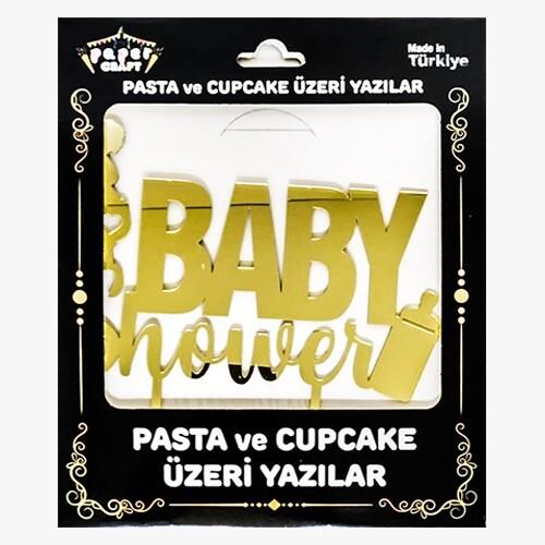 - Pleksi Pasta Üzeri Yazı Gold Baby Shower