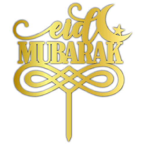 - Pleksi Pasta Üzeri Yazı Gold Eid Mubarak