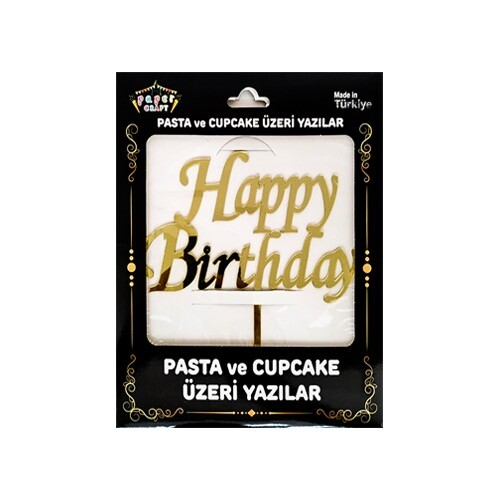 - Pleksi Pasta Üzeri Yazı Gold Happy Bırthday