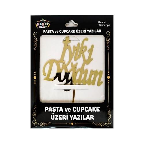 - Pleksi Pasta Üzeri Yazı Gold İyiki Doğdun