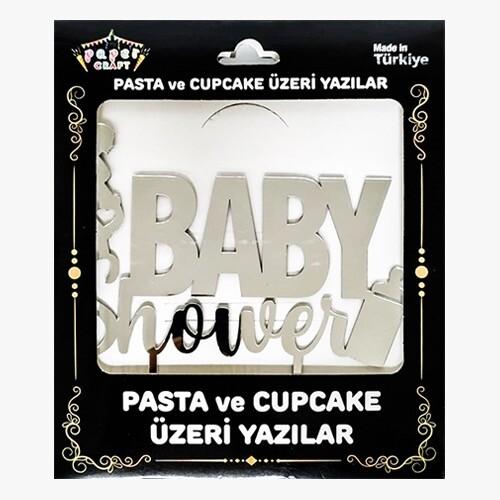 - Pleksi Pasta Üzeri Yazı Gümüş Baby Shower
