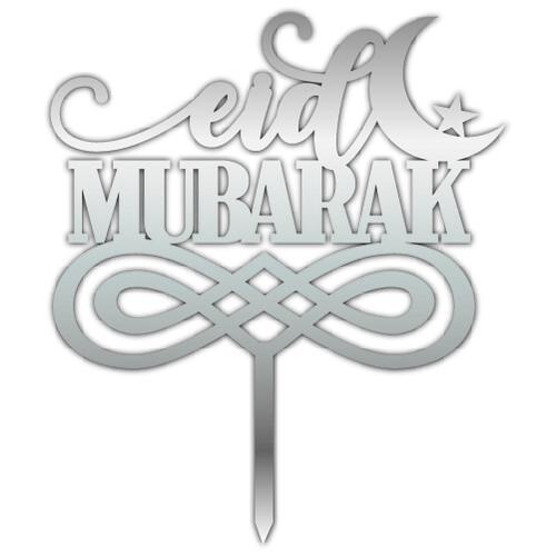 - Pleksi Pasta Üzeri Yazı Gümüş Eid Mubarak