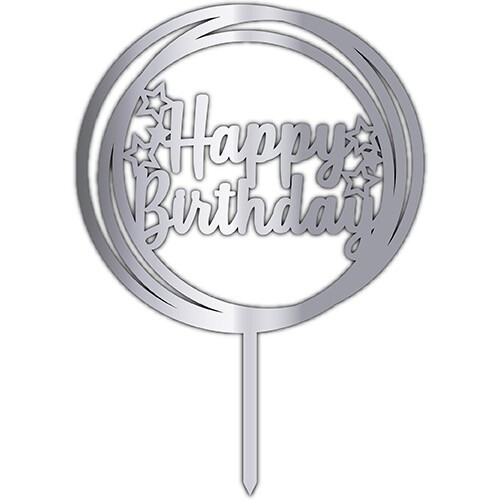 - Pleksi Pasta Üzeri Yazı Gümüş Happy Bırthday