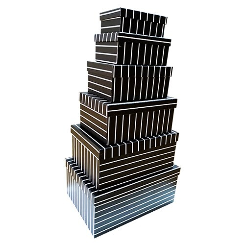 - Siyah Beyaz Çizgili Desenli 6'lı Kutu