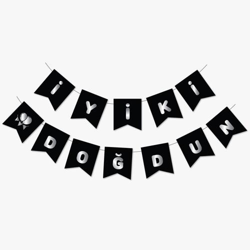 - Siyah Gümüş Yaldızlı Banner