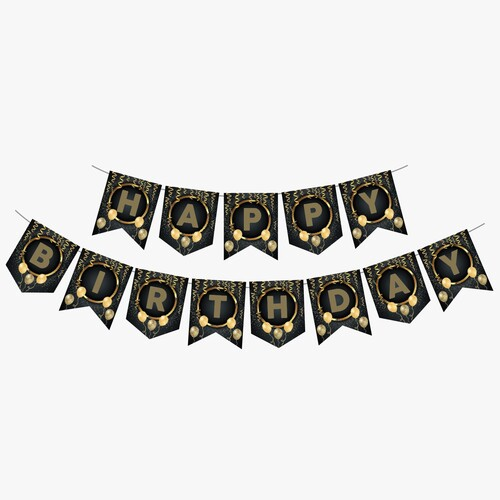 - Zigzag Banner Ofset Siyah Gold Happy Birthday