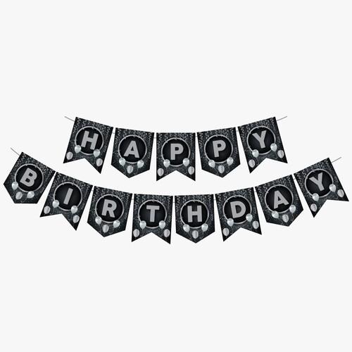 - Zigzag Banner Ofset Siyah Gümüş Happy Birthday
